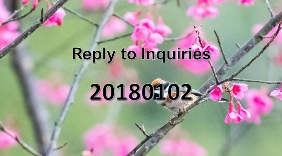 Reply to Inquiries No. 20180102